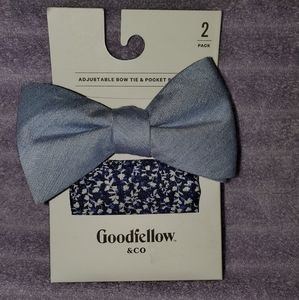 Mens bowtie and pocket square
